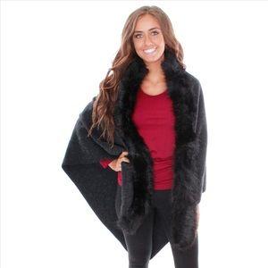 Jackets & Blazers - Faux Fur Cape - Black